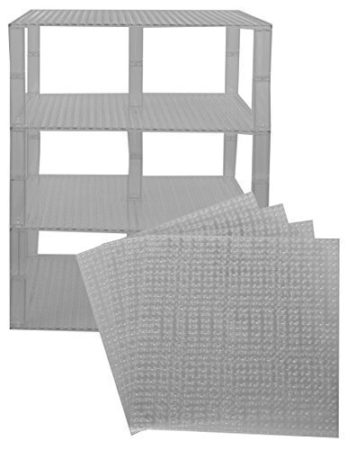 Strictly Briks Classic Baseplates 10 x 10 Brik Tower by 100% Compatible with All Major Brands | Building Bricks for Towers and More | 4 Clear Stackable Base Plates & 30 Stackers
