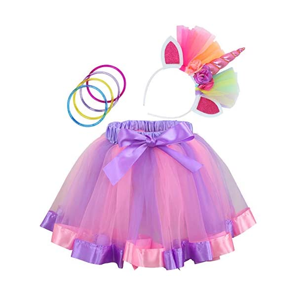 Toy4baby Little Girls Layered Rainbow Tutu Skirts with Wings Unicorn Headband and Bracelets 3