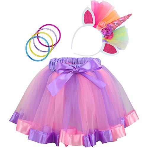 Rainbow Tutu Dress Birthday Outfit for Little Girls with Headband and Bracelets (Purple Rainbow, M, 2-4T) -