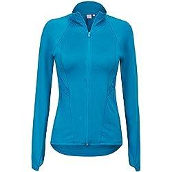 Regna X Women's Full Zip Slim Sport Stretchable Workout Track Jacket Blue M