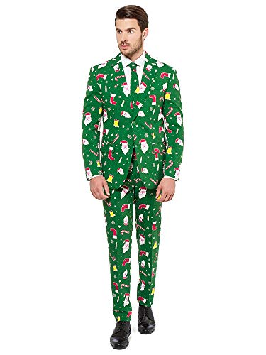 OppoSuits Christmas Suits for Men in Different Prints - Santaboss - Ugly Xmas Sweater Costumes Include Jacket Pants & Tie - US 44 (Best Mens Suits In The World)