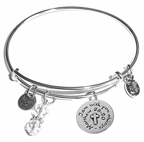 May Bead Girl Charm - Hidden Hollow Beads Message Charm (14 words to choose from) Expandable Wire Bangle Bracelet, in the popular style, COMES IN A GIFT BOX! (Religious - Cross)