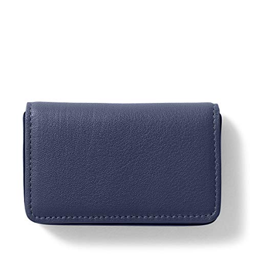 Business Card Case - Full Grain Leather - Navy (blue) ()