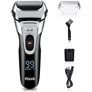 Electric Razor for Men, Hizek Men's Electric Shaver Cordless Foil Shaver with Pop-up Trimmer,USB Quick Charging,LCD Display,Waterproof Design for Body Hair and Beard Style