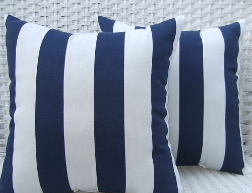 Resort Spa Home Décor Indoor/Outdoor Decorative Throw Pillows, Navy Blue and White Stripe Fabric, 20