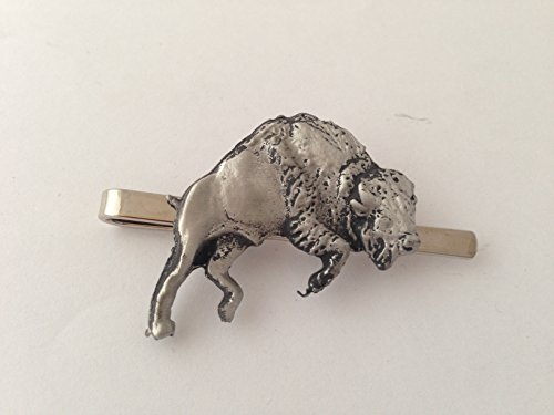 Buffalo bondissant refe39 English Pewter emblème sur une pince à cravate (diapositive) par SB