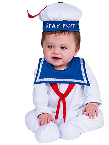 3 Family Costumes (Rubie's Costume Co. Baby Ghostbusters Classic Stay Puft Costume Romper, As Shown, 0-6)