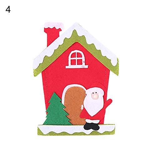 CHoppyWAVE Cutlery Pouch, Christmas Tree House Santa Elk Snowman Xmas Dinner Table Decor Spoon Knife Pouch - 4# by CHoppyWAVE (Image #1)