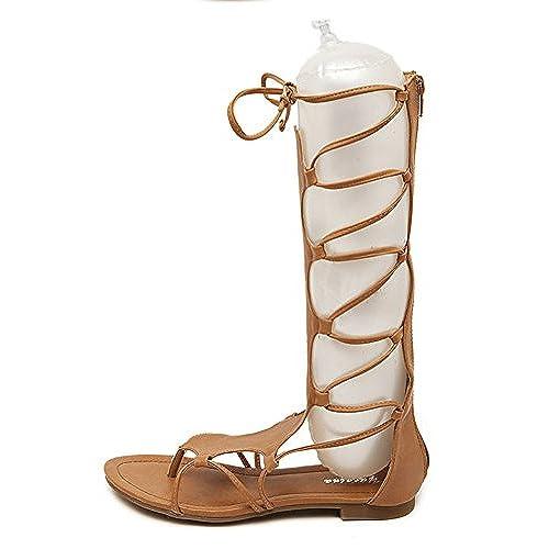 Aisun Femme Mode Talon Plat Lacets Croisés Sandales best