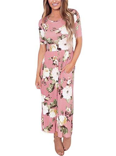 JomeDesign Women's Casual Short Sleeve Round Neck Pockets Maxi Floral (Wedding Dress Halloween Ideas)
