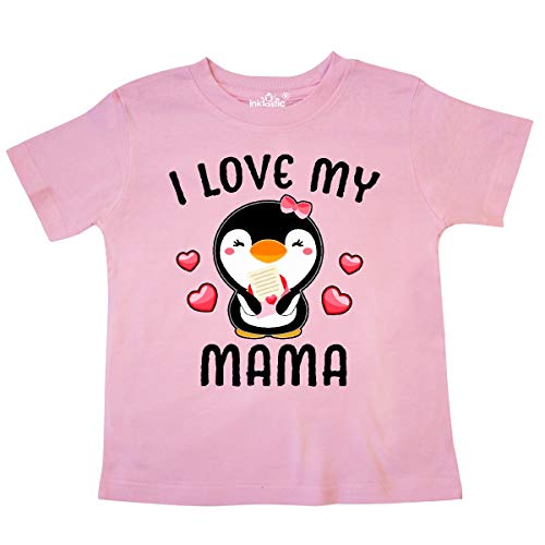 inktastic I Love My Mama with Cute Penguin and Hearts Toddler T-Shirt 3T Pink
