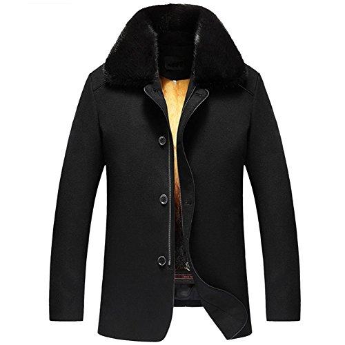 Men s Winter Mink Fur Lined Coat Wool Shell Outwear Black Romovable Mink Fur Lined Parka Luxe Genuine Fur Coat TJ12 (XL, Black)