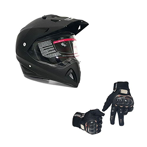 Combo Helmet Dual Sport Off Road Motorcycle Dirt Bike ATV - FlipUp Visor - 27V (M, Matte Black) with Black Gloves Size M