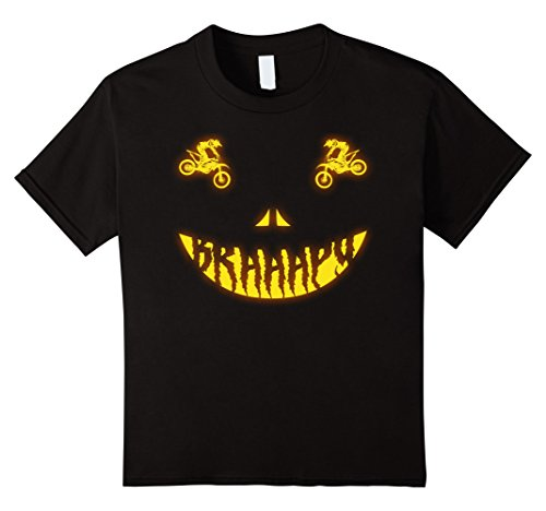 Kids Halloween Costume Motocross Dirt Bike Scary Face T-shirt 6 Black