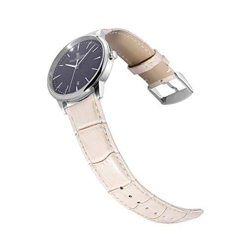 Calfskin Watch Band Genuine Calf Leather Replacement 18mm 20mm 22mm 24mm Strap Wrist Watchband Pin Buckle Clasp for Women (Beige Leather Strap Watch)