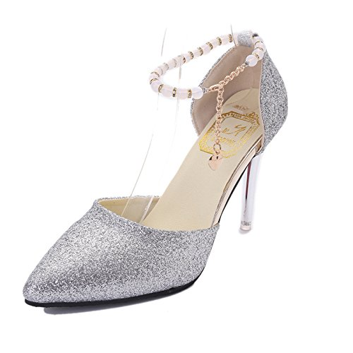 35 de High plata antideslizamiento Moda desgaste Zapatos con Heeled punta zapatos Mujer reborde OFwqg7F