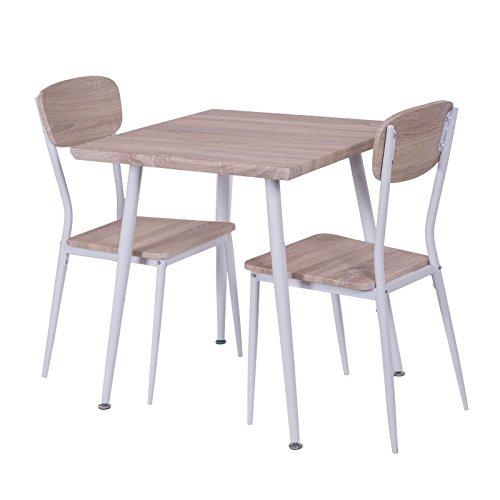 colourliving® Esszimmergruppe Tischgruppe Holz Sitzgruppe mit 2 Stühlen und Esstisch 70x70 cm Wohnzimmer Küche