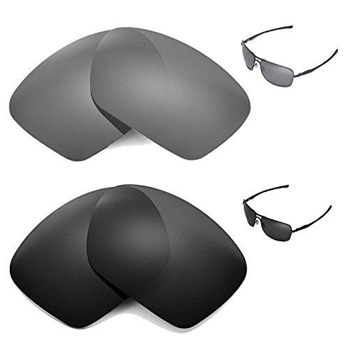 Walleva Polarized Titanium+Black Replacement Lenses for Oakley Plaintiff Squared - Squared Polarized Plaintiff