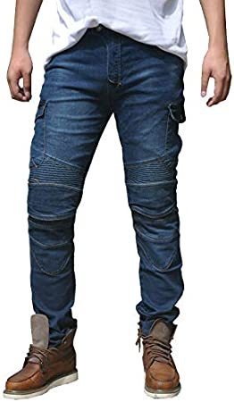 Waist 36.5 Uomo Moto Biker Jeans Rinforzato Protezione Pantaloni Linning Includono Armature Motorcycle Pants blu XL-