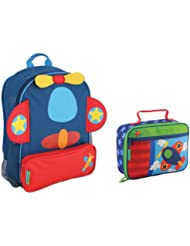 Stephen Joseph Boys Sidekick Airplane Backpack and Lunch Box for Kids
