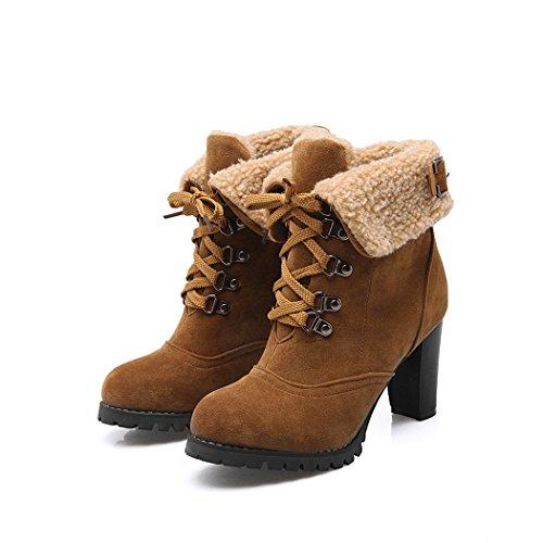 tallone Up stivali dimensioni stivali grandi di del brown grossolana Lace Natale smerigliato ZQ stile corto Americana e di donna Coreano anteriore scarpe Europea QXregalo nAOx1qxwa