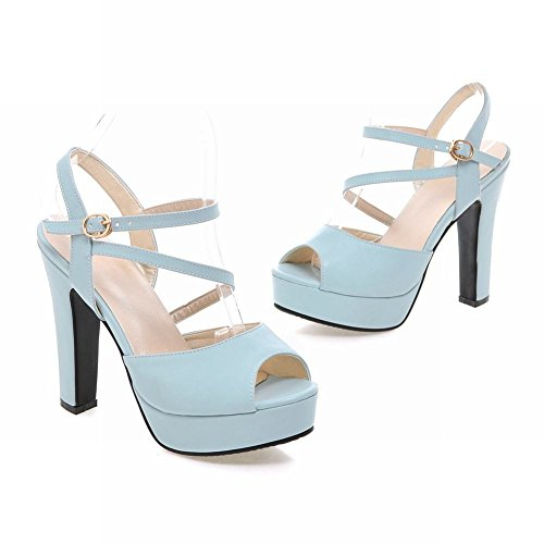 Charm Foot Womens Peep Toe Ankle Strap Platform High Heel Sandals Blue vph6sSfQr