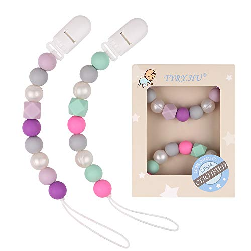 Pacifier Clip Baby Girls Binky Holder Soothie Paci Clip BPA Free Silicone Bead Teething Relief Teether Toy Baby Birthday Christmas Shower Gift Set of 2 (Purple, Green)