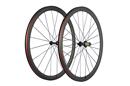 SunRise Bike 1 Pair of Road Bike Carbon 700C Clincher Wheelset Super Light Bicycle Wheels 38mm Depth (Shimano Cassette)