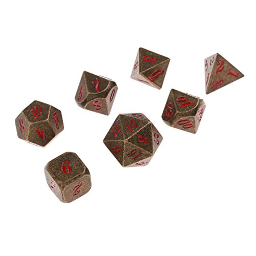 Baoblaze 7x Metal Polyhedral Dices Die Set D6-D20 for Board Games Dungeons and Dragons MTG RPG Toy Gifts #9 by Baoblaze