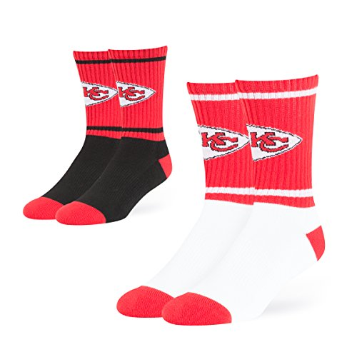 NFL Kansas City Chiefs OTS Dasher Sport Sock 2-Pack, Team Color, Large