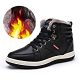 Ceyue Mens Leather Snow Boots Lace Up Ankle Sneakers High Top Winter Shoes with Fur Lining(Black 45)