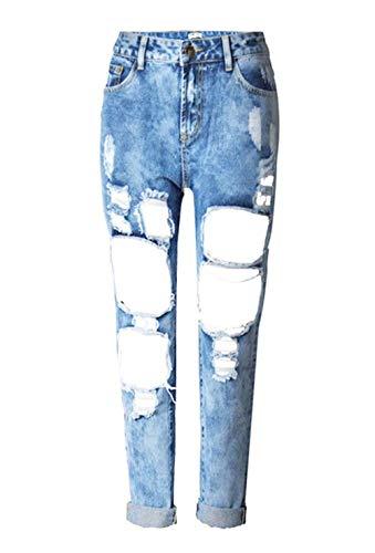 Blau2 W31 Cintura Agujeros Mezclilla Forma Relajado En Pantalones 6 Huixin Pierna Estilo Las Colores Con De Stretch W25 Chern Recta Boyfriend Mujeres Jeans W1BPqHO