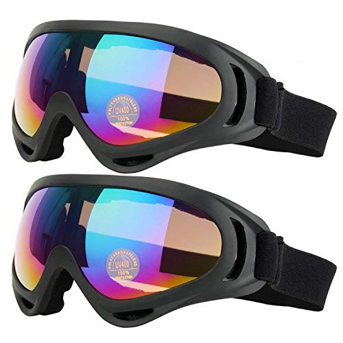 COOLOO Ski Goggles, Pack of 2, Skate Glasses for Kids, Boys & Girls, Youth, Men & Women, with UV 400 Protection, Wind Resistance, Anti-Glare Lenses (Black) ()
