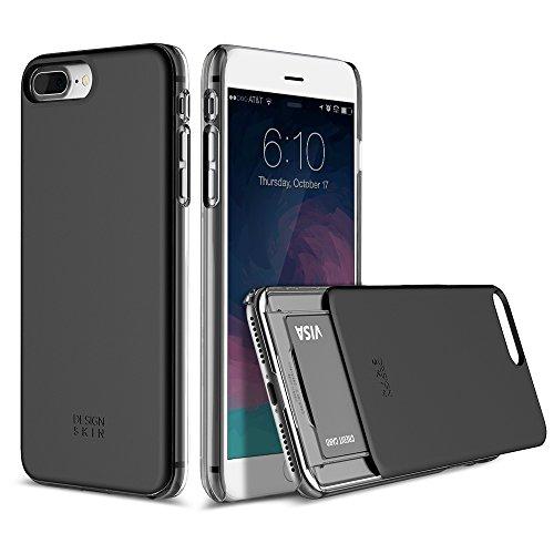 (DesignSkin Slider Slim S2 Dual PC Layer Wallet Case with Card Slot for iPhone 7 Plus - Black Titanium)