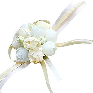 DDN Girl Bridesmaid Wedding Wrist Corsage Party Prom Hand Flower Decor(DDN39) 1