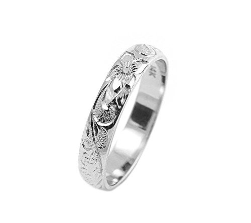 14K white gold custom hand engraved Hawaiian queen plumeria scroll band ring 4mm size - Gold 14k White Jewelry Hawaiian