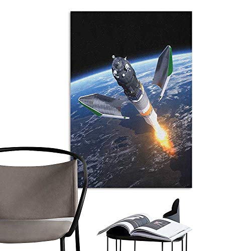 Home Decor Decals Mural Outer Space Launch of Cargo Spacecraft in Progress Rocket Takes Off Cosmos Universe Black Grey Blue Fashion Stickers for Wall W16 x H20