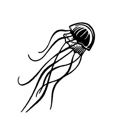 Fumak 14.9cm16.1cm Acontinuous Cartoon Characteristic Jellyfish Dance Vinyl Window Decal Vivid Car Sticker Black/Silver C18-0252