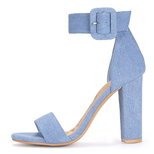 Allegra K Women's Ankle Strap Block Heel Sandals Denim Blue pyNuZQem