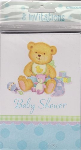 Precious Bear Blue Invitations 8ct