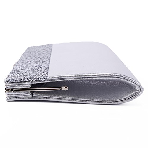 Bling Prom Envelope Evening Shiny Glitter Wedding Silver Womens Anladia Handbag Purse Clutch Bag Bag Bridal qYtFHH