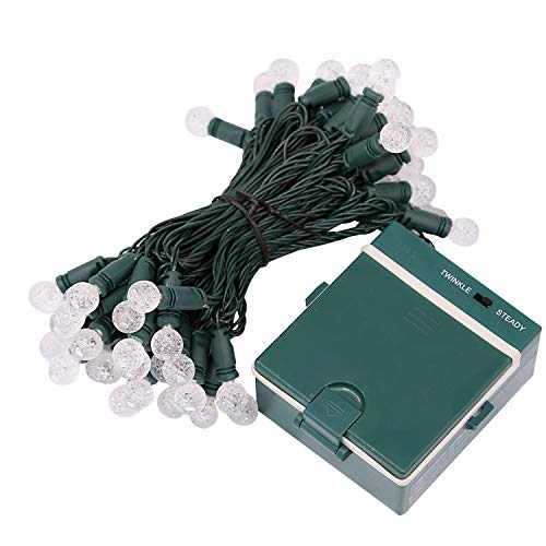 AIDDOMM 50 LED Christmas String Lights Battery Operated, G12 Berry Lighting Set, for Outdoor and Indoor, Windows, Patio, Christmas Tree, Cool White, Green Wire, 17.5 Feet, 4 in. Spacing, UL588 Listed