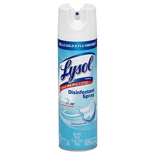 (Lysol ssss Disinfectant Spray, Crisp Linen, 19 Ounce (Pack of 4), Blue, 76 Ounce)