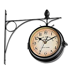 nago0 Retro Wall Clock - European Style Double Sided Battery Powered Metal Wall Mount Hanging Clock for Home Dining Living Room Office