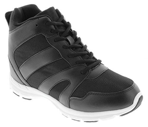 calto-G3330-10,2cm Grande Taille-Hauteur Augmenter Chaussures ascenseur (Noir Montantes à Lacets Sneakers)