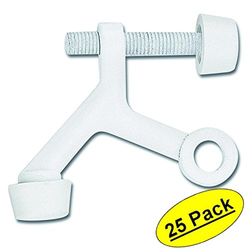 Designers Impressions White Lite Duty Hinge Pin Adjustable Door Stop : 8008 - 25 Pack by Designers Impressions