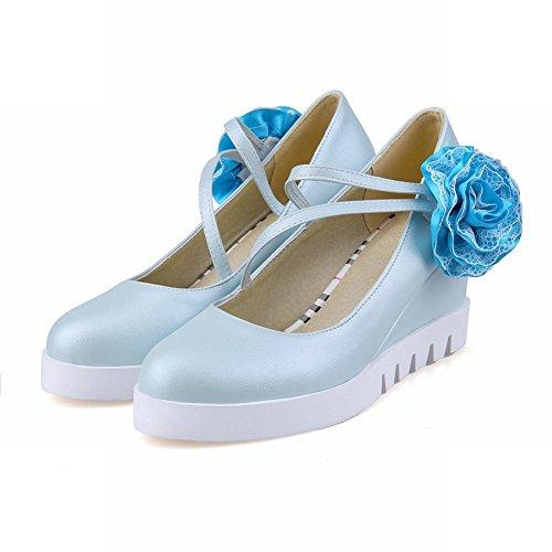Latasa Adorable Fleur Mignonne Applique Talon Haut Talon Pompes Chaussures Bleu Clair