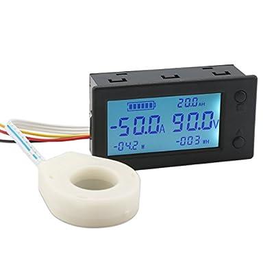 Digital Multimeter Panel, DROK Wireless Multifunction Volt Ampere Meter Gauge DC 0-80V 0-300A Voltmeter LCD Display Voltage Current Power Watt Monitor Time Temperature Tester with Hall Sensor …