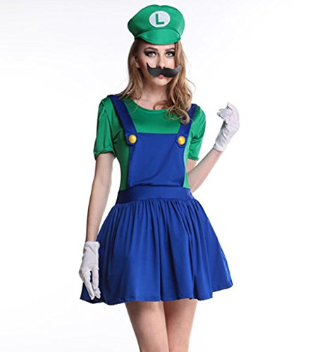 [Eternatastic Womens Halloween Costume Nintendo Super Mario Adult Costume Green L] (Nintendo Costumes For Adults)