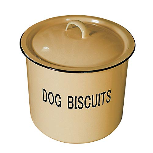 (Creative Co-Op DA1981 Yellow Metal Dog Biscuit Container with Lid &